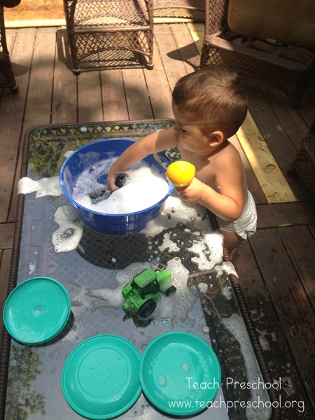 washing the toys