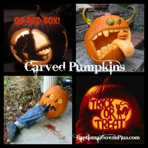 carved pumpkins collage